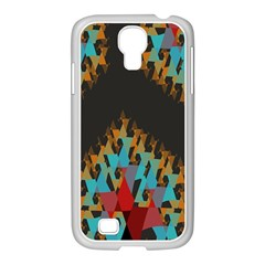 Blue, Gold, and Red Pattern Samsung GALAXY S4 I9500/ I9505 Case (White)