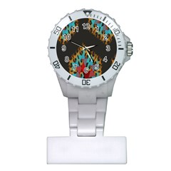Blue, Gold, and Red Pattern Nurses Watches