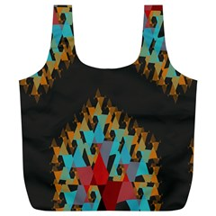 Blue, Gold, and Red Pattern Full Print Recycle Bags (L)