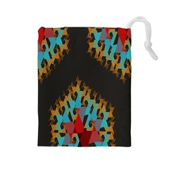 Blue, Gold, And Red Pattern Drawstring Pouches (large)