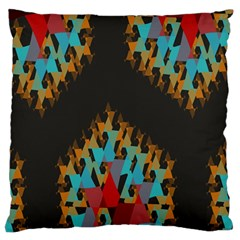 Blue, Gold, And Red Pattern Large Flano Cushion Cases (one Side)