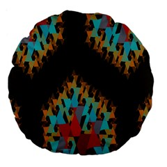 Blue, Gold, And Red Pattern Large 18  Premium Flano Round Cushions