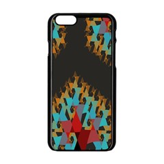 Blue, Gold, and Red Pattern Apple iPhone 6/6S Black Enamel Case