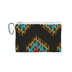 Blue, Gold, And Red Pattern Canvas Cosmetic Bag (s)