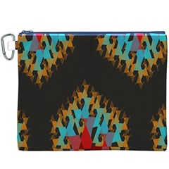Blue, Gold, and Red Pattern Canvas Cosmetic Bag (XXXL)