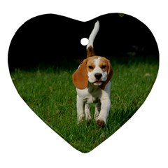 Beagle Walking Ornament (Heart)