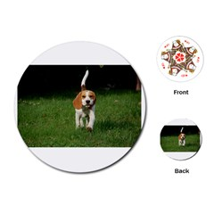 Beagle Walking Playing Cards (Round)