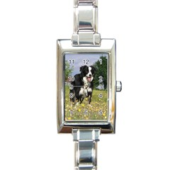 Border Collie Full 3 Rectangle Italian Charm Watches