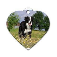 Border Collie Full 3 Dog Tag Heart (Two Sides)