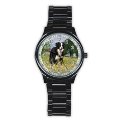 Border Collie Full 3 Stainless Steel Round Watches