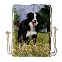 Border Collie Full 3 Drawstring Bag (Large)