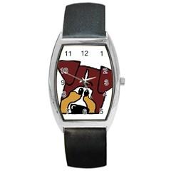 Red Tri Peeping  Aussie Dog Barrel Metal Watches