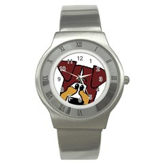 Red Tri Peeping  Aussie Dog Stainless Steel Watches