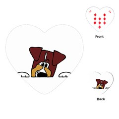Red Tri Peeping  Aussie Dog Playing Cards (heart)