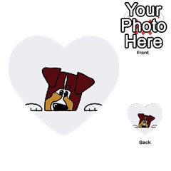 Red Tri Peeping  Aussie Dog Multi-purpose Cards (Heart)