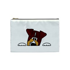Red Tri Peeping  Aussie Dog Cosmetic Bag (Medium)