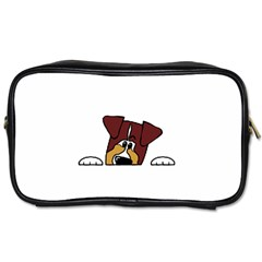 Red Tri Peeping  Aussie Dog Toiletries Bags 2-Side