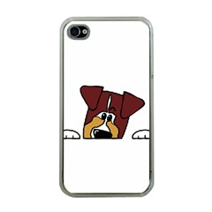 Red Tri Peeping  Aussie Dog Apple iPhone 4 Case (Clear)