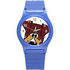 Red Tri Peeping  Aussie Dog Round Plastic Sport Watch (S)