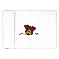 Red Tri Peeping  Aussie Dog Samsung Galaxy Tab 8.9  P7300 Flip Case