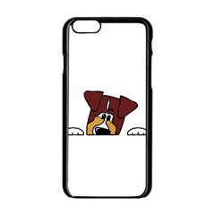 Red Tri Peeping  Aussie Dog Apple iPhone 6/6S Black Enamel Case