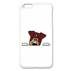 Red Tri Peeping  Aussie Dog Apple iPhone 6 Plus/6S Plus Enamel White Case