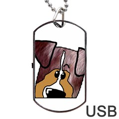 Red Merle Peeking  Aussie Dog Tag USB Flash (Two Sides)