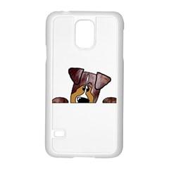 Red Merle Peeking  Aussie Samsung Galaxy S5 Case (White)