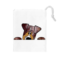 Red Merle Peeking  Aussie Drawstring Pouches (Large)