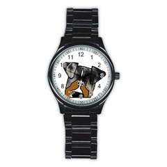 Blue Merle Peeking Aussie Stainless Steel Round Watches
