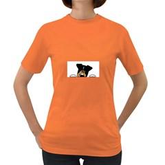 Black Tri Peeping Aussie Dog Women s Dark T-Shirt