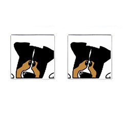 Black Tri Peeping Aussie Dog Cufflinks (Square)