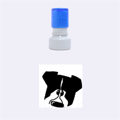 Black Tri Peeping Aussie Dog Rubber Round Stamps (Small)
