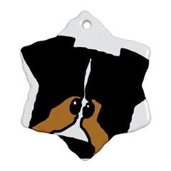 Black Tri Peeping Aussie Dog Snowflake Ornament (2-Side)