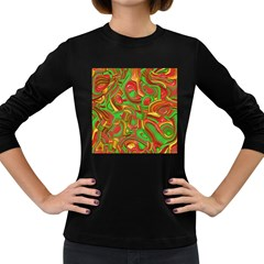 Art Deco Red Green Women s Long Sleeve Dark T Shirts
