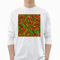 Art Deco Red Green White Long Sleeve T Shirts