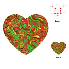Art Deco Red Green Playing Cards (heart)