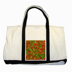 Art Deco Red Green Two Tone Tote Bag