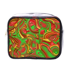 Art Deco Red Green Mini Toiletries Bags