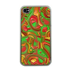 Art Deco Red Green Apple iPhone 4 Case (Clear)
