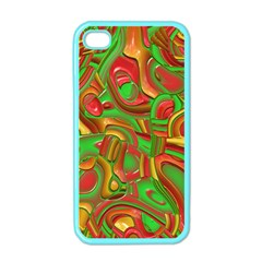Art Deco Red Green Apple iPhone 4 Case (Color)