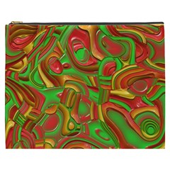 Art Deco Red Green Cosmetic Bag (XXXL)