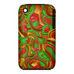 Art Deco Red Green Apple iPhone 3G/3GS Hardshell Case (PC+Silicone)
