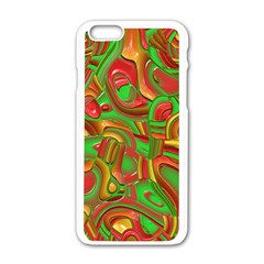 Art Deco Red Green Apple iPhone 6/6S White Enamel Case