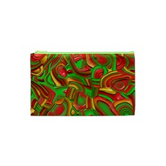 Art Deco Red Green Cosmetic Bag (XS)