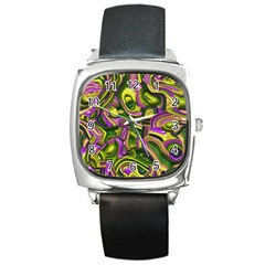Art Deco Yellow Green Square Metal Watches
