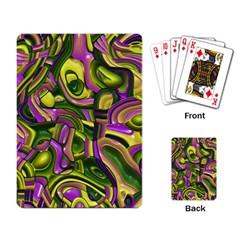 Art Deco Yellow Green Playing Card