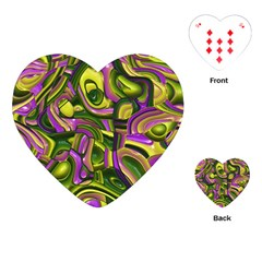 Art Deco Yellow Green Playing Cards (heart)