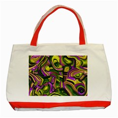Art Deco Yellow Green Classic Tote Bag (Red)