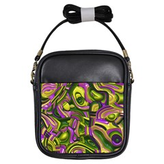 Art Deco Yellow Green Girls Sling Bags
